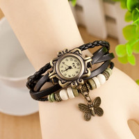 Fashion Women's Bracelet Butterfly Analog Watch Quartz Girl's Retro Wrist Watch = 1706051524