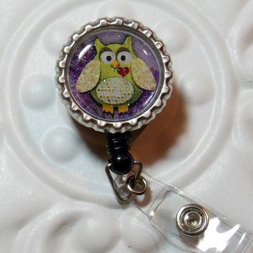 Retractable Badge Reel Bottlecap ID Badge Holder Teacher Lanyard Cute Owl