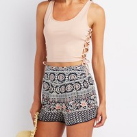 Sleeveless Lace-Up Crop Top