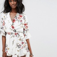 Boohoo Tie Waist Floral Playsuit at asos.com