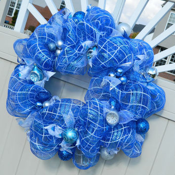 Christmas Wreath - Blue and White Deco Mesh