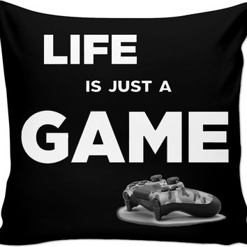 Life is just a game! Gamer black throw pillow design, geek couch pillow, camo PS gamepad