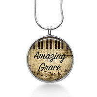 Amazing Grace Necklace, piano, music, piano keys, handmade, silver plated, 16 in