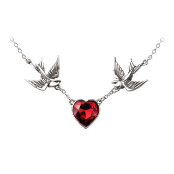 Alchemy Gothic Swallow Red Heart Pendant Necklace