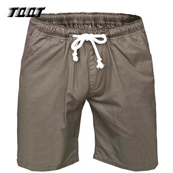 Men Shorts Elastic Waist Knee Length Outwear Short Pockets Joggers Breathable Shorts Male Cargo Short