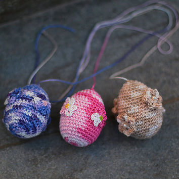 Crochet Easter Egg, Easter Egg Ornaments, Easter Decorations, Easter Gifts, Spring Decor, Springtime, Easter Home Decor, Easter Flowers