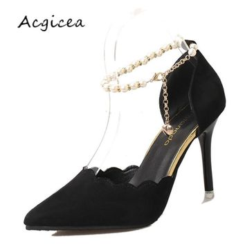 2018 Spring Autumn Female sandals sexy Pointed Toe prom wedding shoes Fine with High heels Tacones altos Mujer