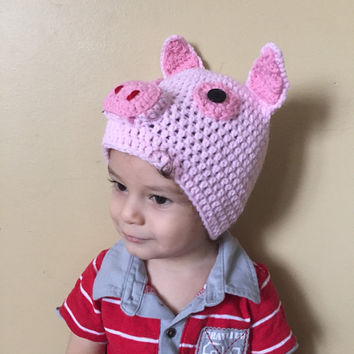 Handmade Crochet pig hat, little piglet beanie. Piglet hat with, little piggy hat in all sizes.