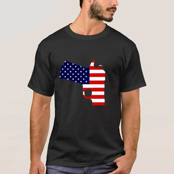 Gun American Flag Patriotic Gun T-shirt - 2nd Amendment