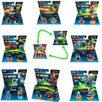 Lego Movie Bad Cop Powderpuff Girls Teen Titan Go Bane Bettlejuice Chima Cragger A-Team Doctor Who Knight Rider By LEGO Dimensions | Lego Minifigures Bundle