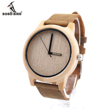 BOBO BIRD Vintage Round Wristwatch With Real Leather Band