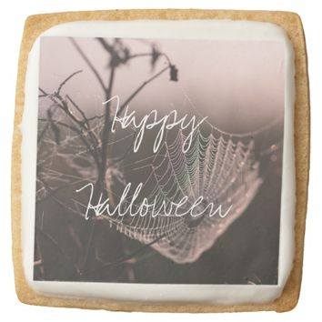 Halloween Cobweb with Dried Twigs Square Shortbread Cookie