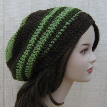 Green Brown Slouchy Beanie smaller Dread Tam Hat, Hippie Slouch Beanie, woman man hat