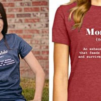 """Mombie"" Mother's Day- definition tees- Larger Sizes too!"