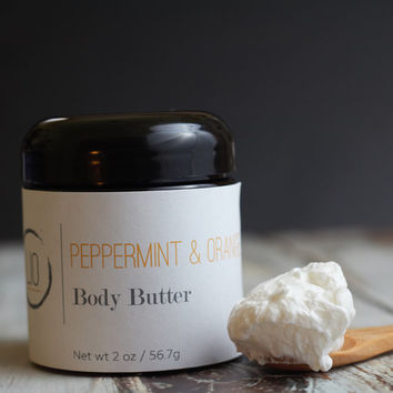Peppermint & Orange Whipped Body Butter - Natural Body Butter - Night Cream - Shea Body Butter  - Peppermint Body Butter - Vegan body butter