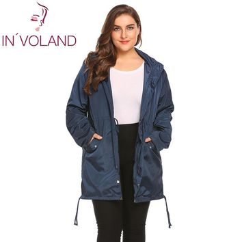 IN'VOLAND Women Raincoat Jacket Plus Size XL-4XL Spring Autumn Lightweight Hooded Drawstring Loose Waterproof Coat Big Size