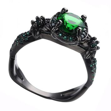 Vintage Art Deco Inspired Green Cocktail Fashion Bijoux Costume Jewelry Ring