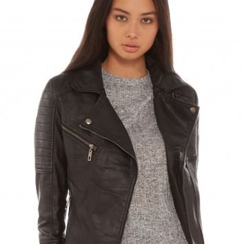 Glamorous Top Gun Leather Look Jacket in Black