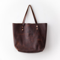 New Tote - Dark Brown Kodiak Leather