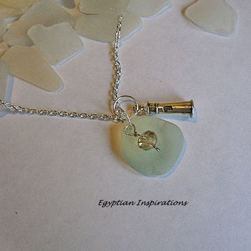 Lighthouse necklace. Sea glass necklace. Beach sea glass jewelry.