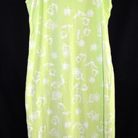 Fresh Produce sz Large Long Casual Dress Beach Cotton Beach Green/Yellow