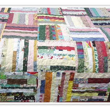 Made to order, Queen size quilt, Scrappy quilt, strip quilt, string quilt, queen size scrappy strips quilt, shabby chic
