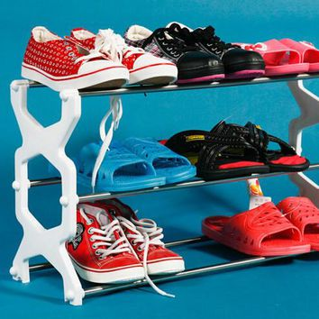 Stainless Steel Three Simple Plasitc Shoe Hanger Stainless Steel Shoes Rack Random Color