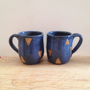 Pair of Cobalt Triangle Ceramic Mugs, wheel thrown coffee mugs, blue stoneware ceramic speckled pottery mug set with geometric design