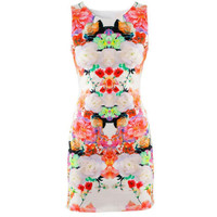 New design Women Floral Print Sleeveless Clubwear Party Summer Sexy Mini Dress free shipping!