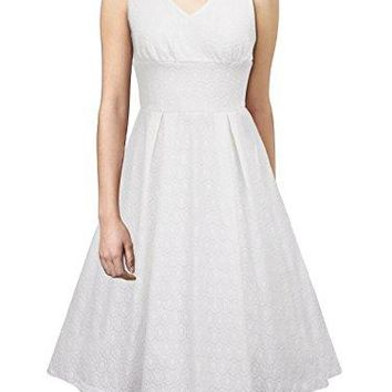 iLover Womens Classic Vintage Audrey Hepburn Style Rockabilly 1950s Evening Party Wedding Dress