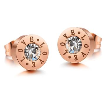 SHIPS FROM USA Cute Fashion Rose Gold Color Crystal Stud Earrings Bijoux Women Love Earrings Women Accessories Piercing Love Jewelry