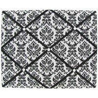 "20"" x 16"" Black & White Damask Memo Board 
