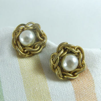 Miriam Haskell Earrings Faux Baroque Pearl with Gold Tone Chain Frame Screw Back
