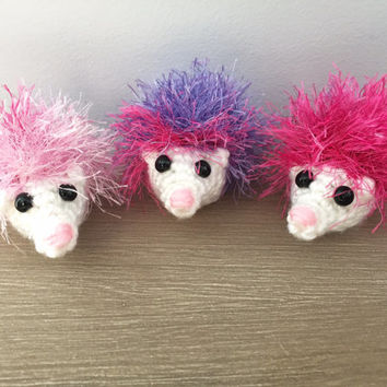 Crochet hedgehog toy, Valentines day stuffed animal gift, set of 3, cute stuffed animal, colorful children's toy, nursery decor, miniature
