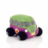 Pink Hippie Camper Van Fair Trade Knitted Baby Rattle