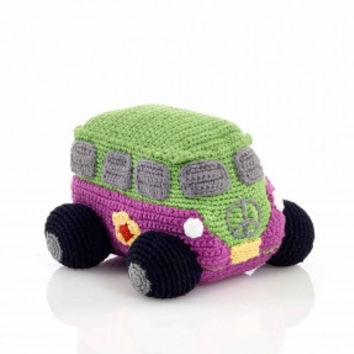 Hippie Camper Van Fair Trade Knitted Baby Rattle