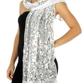Viva La Voom Sequin Party Shawl Silver