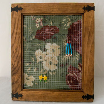Rustic Western Picture Frame Repurposed into Earring Holder Green and Red Roses