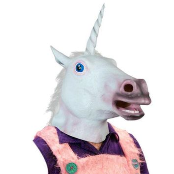 ICIKU7Q Magical Unicorn Mask Latex Animal Costume Prop Toys Party Halloween