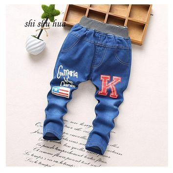 Spring and Autumn Fashion jeans children clothes 2-5 year old boys girls jeans, cartoon printing casual pants high quality 2017