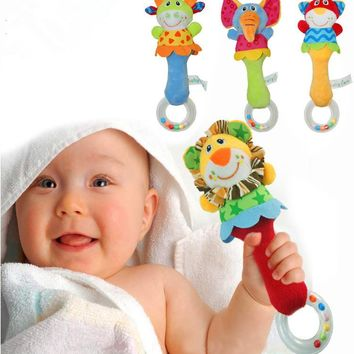 2016 New Baby Rattle Toys Stroller Animal Hand Bells Baby Kids Soft Plush Toys High Quality Newborn Christmas Gifts