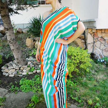 Multicolored Maxi Long Dress / Oversize Casual Dress / Plus Size Tunic Dress / Everyday Caftan / Loose Summer Dress by moShic D003