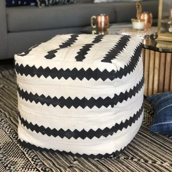 Square Mudcloth Pouf : White & Black Stripe