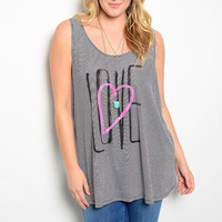 Plus Size LOVE & Heart Graphic Print Tank Top in Black & White Stripes