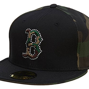 New Era Boston Red Sox Fitted Hat Mens Style: HAT649-MILITARY GREEN/BLACK Size: 7 5/8