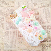 Light Yellow iPhone 4/4s Case Kawaii Decoden Case Music Notes Sweet Spring Theme Mint Green and Pink Cabochons Cherry Bow Snap on Case