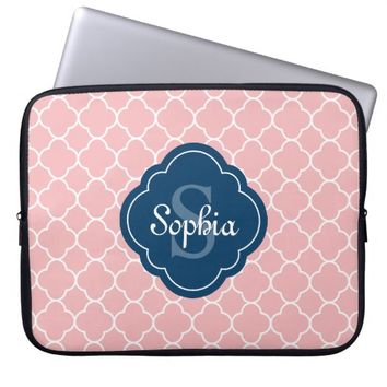 Pink Quatrefoil Pattern Navy Monogram Laptop Computer Sleeves
