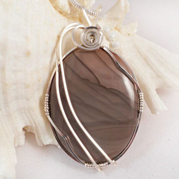 Wire Wrapped Necklace, Wire Wrap Picture Jasper Pendant, Handmade
