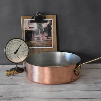 Tournus Copper Pan/ Copper Saute Pan/ Copper and Aluminum Pan/ Tournus/ Vintage French Copper Cookware/ Vintage Copper Pot/ 3 mm Copper