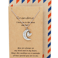 Meema Grandma Necklace I Love You to the Moon and Back Pendant and Heart Charm